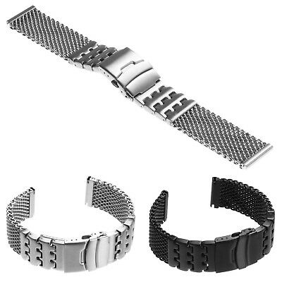 StrapsCo Heavy Duty Stainless Steel Shark Mesh Watch Band Bracelet w Block Links