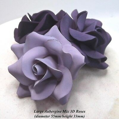 3, 6 or 12 Large Purple Mix 3D Sugar Roses wedding cake decoration 55mm NONWIRED