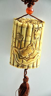 Vintage Bone Frog Lily Bamboo Inro Netsuke Box Hanging Charm Case Storage Pouch