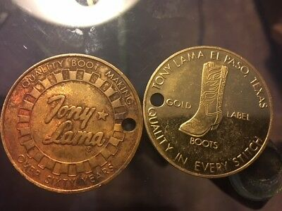 2 Vintage Brass TONY LAMA Gold Label Boot Token Coin El Paso Texas Fob