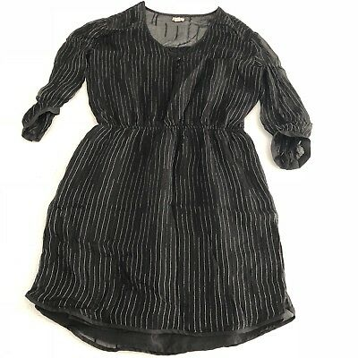 ECOTÉ URBAN OUTFITTERS Black Dress w Silver Stripe 3 4 Sleeve  w Pockets--Large -  14.99  3c2c51d63