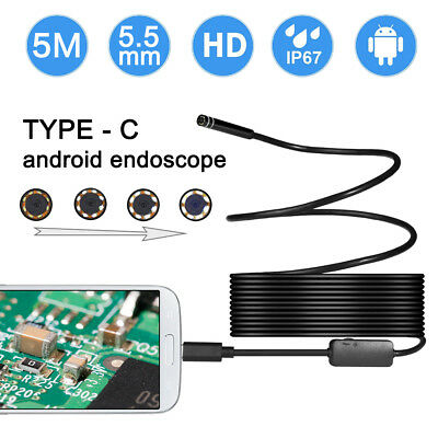 16.5FT Endoscope Waterproof Micro USB C 5.5MM Inspection Camera for PC Android