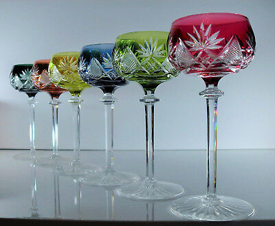 Val St Lambert Berncastel/6 Glasses Wine Crystal Size Multi Colours