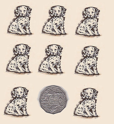 """8 x Waterslide ceramic decals Dog, puppy. animal Approx. 1 1/4"""" x 1 1/4""""  PD704"""