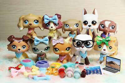 6 lot Rare Littlest Pet Shop LPS Great Dane Dogs Collie Cat Clear Peg Authentic
