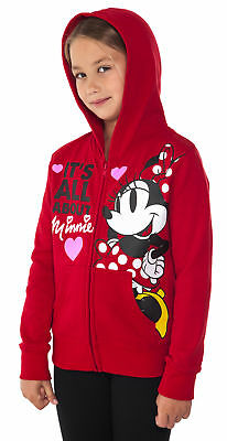 Girls Disney Minnie Mouse Zip-up Hoodie Sweatshirt Red