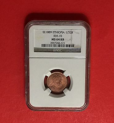 Ethiopia EE 1889 UNC 1/32 Birr - CERTIFIED BY NGC MS-64 RB -(Menelik II Lion )