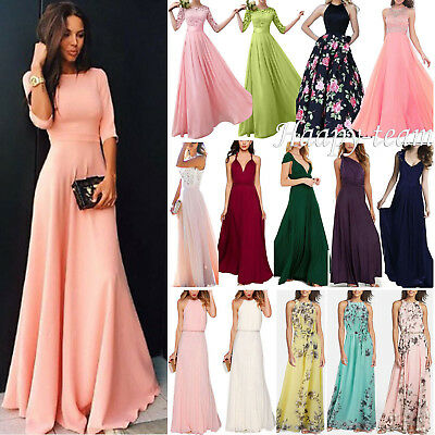 Women Lace Bridesmaid Long Dress Prom Evening Party Cocktail Wedding Plus Size A