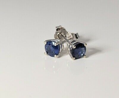Bold Blue Sapphire Stud 14K WG New Genuine 4mm Round .70ct Earrings Boxed White
