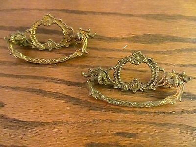 2 antique vintage ornate VICTORIAN drawer pulls solid brass cabinet dresser