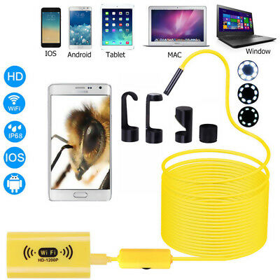 33FT WiFi Endoscope Borescope 8mm Inspection Camera 1200P IP68 For IOS Android