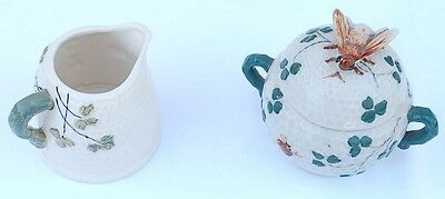 Unique Honey Bee Golf Ball Pattern Occupied in Japan Lidded Sugar Bowl & Creamer
