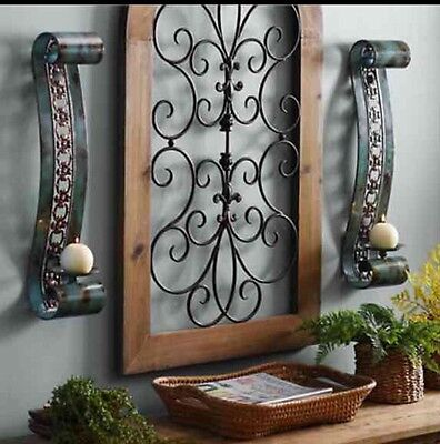Turquoise Scroll sconces set Of 2 - Candles Holders Wall Decor