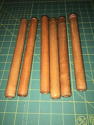 6 Vintage Textile Wooden Thread Spools Bobbins Quills with copper South Carolina
