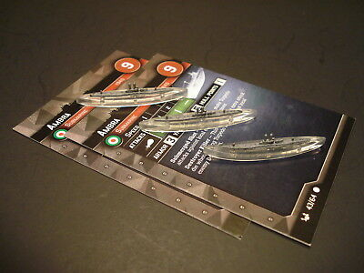 Axis and Allies War at Sea - 3x Ambra Submarine #43 w/2x stat cards CMG (#6)