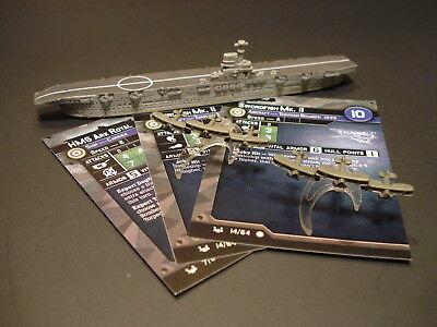 Axis and Allies War at Sea -3x British Vessel Miniatures w/stat cards CMG (#3)