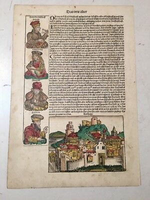 Antique Nuremberg Chronicle Leaf Incunabula Woodcuts Hand Colored Illuminated