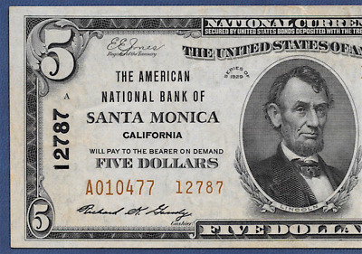 Ca 1929 $5 Type-Two ♚♚Santa Monica, California♚♚  Pcgs Ch About New  58