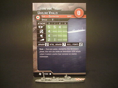 Axis and Allies War at Sea - 47/60 Ugolino Vivaldi - Destroyer (C) -IT(#40)