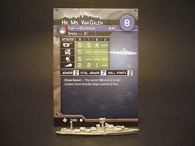 Axis and Allies War at Sea - 7/60 HR Ms VanGalen - Destroyer (C) - NL(#33)