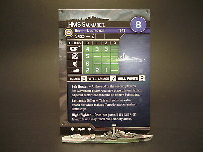 Axis and Allies War at Sea - 8/40 HMS Saumarez - Destroyer (C) - UK(#48)
