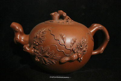 18cm Chinese Yixing Handmade Authentic Purple Clay Pine tree ZiSha Teapot pot