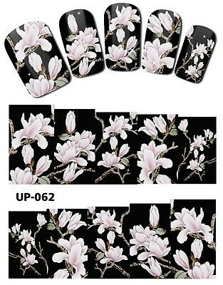 Full Wrap Nail Art Stickers Decals Transfers White Flowers (UP-062)