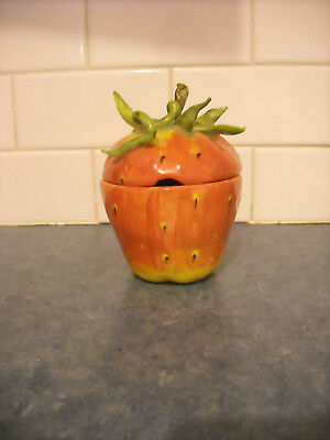 Vintage Eva Gorden Strawberry Apple Fruit Ceramic Art Signed Jam Jar Pot Canada