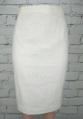 Vintage Fletcher Jones Womens Pencil Skirt Sz S Linen Blend Ivory Straight 1990s