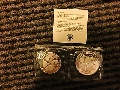 Iceland 1974 Silver Proof Set 500 and 1000 Kronur with Box and COA
