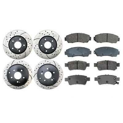 4 PERFORMANCE DRILLED AND SLOTTED ROTORS AND 8 CERAMIC PADS W/Lifetime Warranty