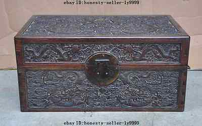 "18""A Antique Chinese Palace huanghuali wood Carved ten Dragons Cabinet Chest Box"