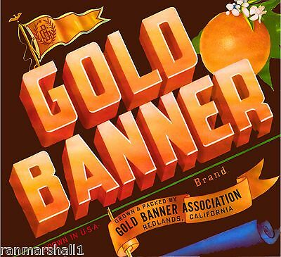Redlands California Gold Banner Orange Citrus Fruit Crate Label Art Print