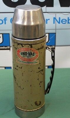 Vintage UNO-VAC Unbreakable Stainless Steel 1 Quart Thermos (DAMAGED)