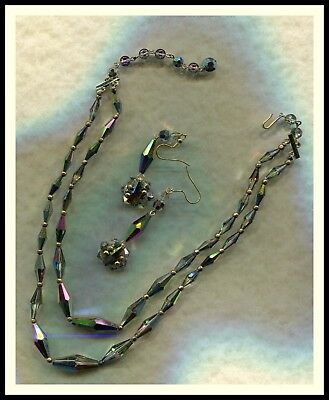 Antique - Vintage - Old  Vitrail Glass 2-Row Necklace - Amazing Rainbow Glass
