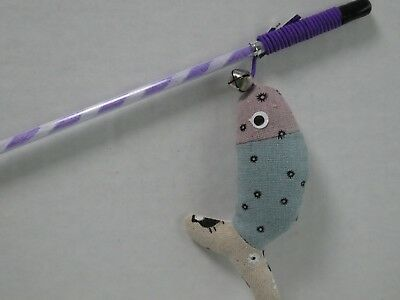 Cat Kitten Cotton Fish Teaser Wand Toy with Bell (CT262)