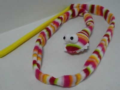 Cat Kitten Multi Coloured Stripey Snake Teaser Wand Activity Toy