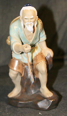 Vintage Chinese Mud Man Figurine - Wise Man Walking