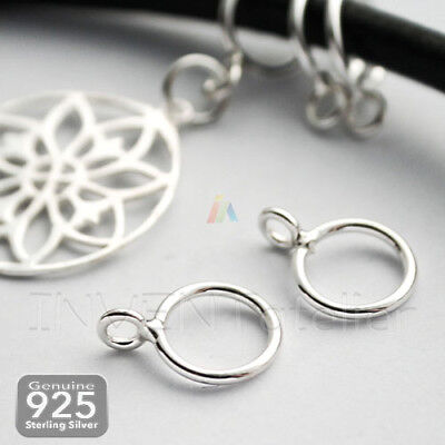 925 Sterling SIlver BAIL 9mm Fits 7mm Leather Cord Or Chain CHARM BRACELET