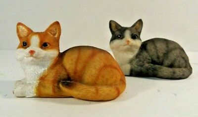 Small Pair of DECORATIVE CATS Set of 2 TAN & GRAY KITTEN Figurines CUTE