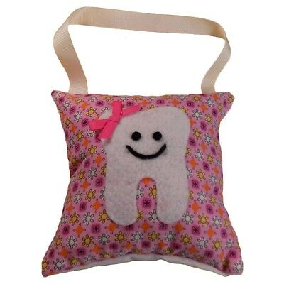 Tooth Fairy Pillow Girl's Flowers and Dots Pink Handcrafted Made in the USA NEW