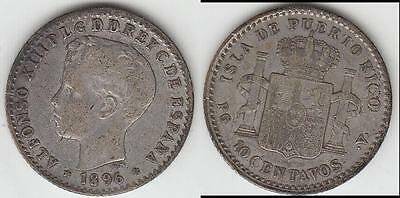 Reduced Again!!  Scarce!! 1896 Puerto Rico (Child King) 10 Centavos Vf