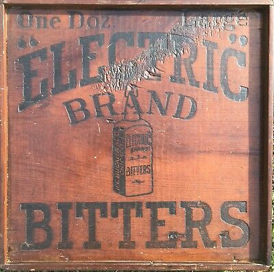 """ANTIQUE Advertising Wood Sign: """"Electric Brand Bitters"""" (10.5""""x10.5"""") VERY RARE!"""