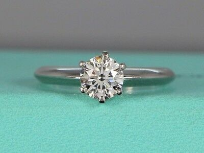 b403e93af $9,200 Tiffany & Co Solitaire Platinum 0.75ct VS2 Round Diamond Engagement  Ring