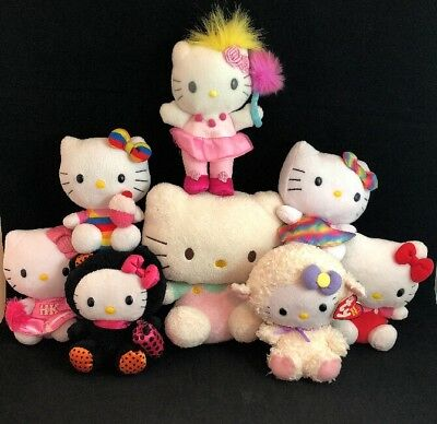 Lot Of 8 Hello Kitty Plush Dolls Stuffed Animal Toys