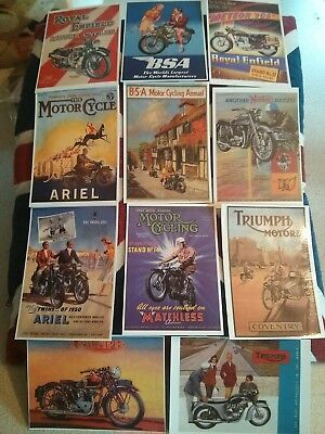 10 british motor cycles  motorbike adverts  postcards , bsa / enfield / triumph
