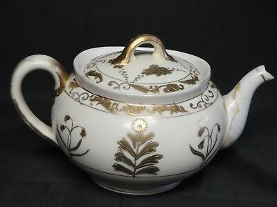 VINTAGE NIPPON HAND PAINTED GOLD LEAF  pattern china TEA POT Beautiful