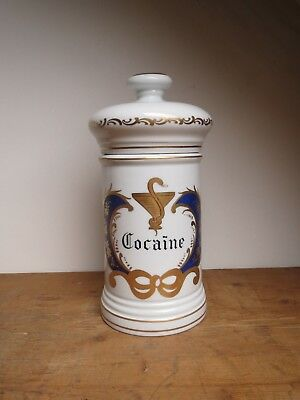 French Porcelain apothecary pharmacy jar 'Cocaine'