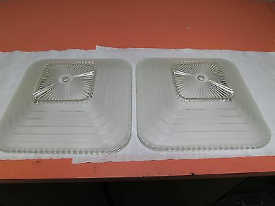 """Matching Pair of Vintage Frosted  Glass Ceiling Shade Light Covers 11"""" Square"""