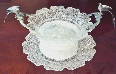 Antique Bird Paradise Butter Fruit Server Dish Crackle Glass Dutch 833 Silver
